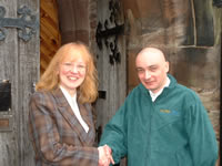 Anne King presents winner of the fleece Rob Farrell of Staffordshire-based Way of the Void web designers